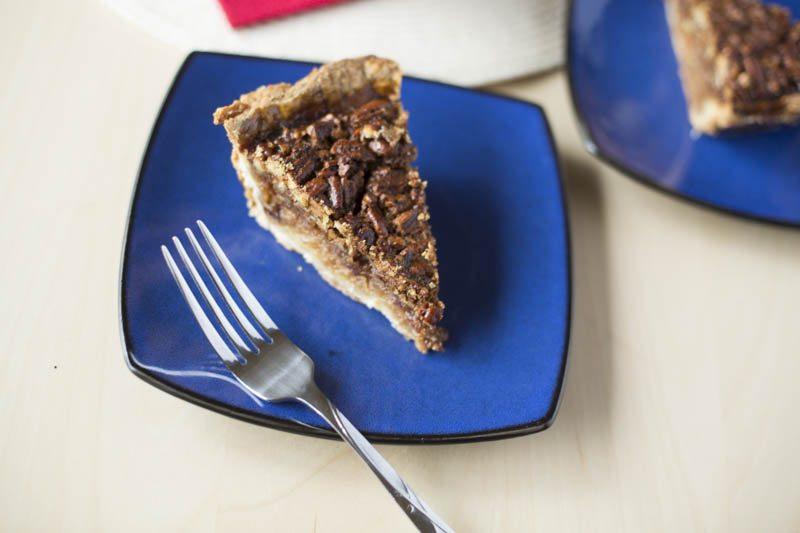 closeup of pecan pie slice.