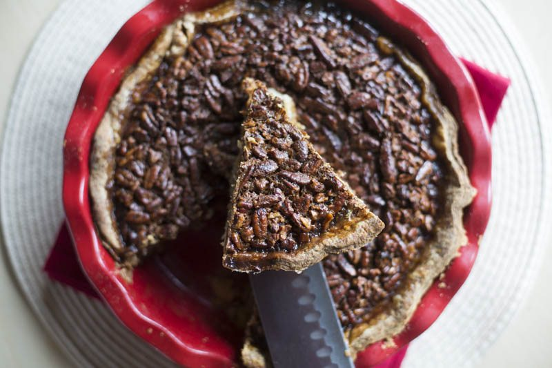 perfect triangle slice of pecan pie top view
