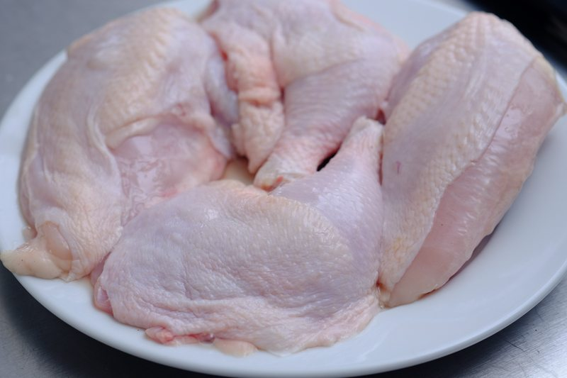 Season the cuts of chicken with salt and pepper