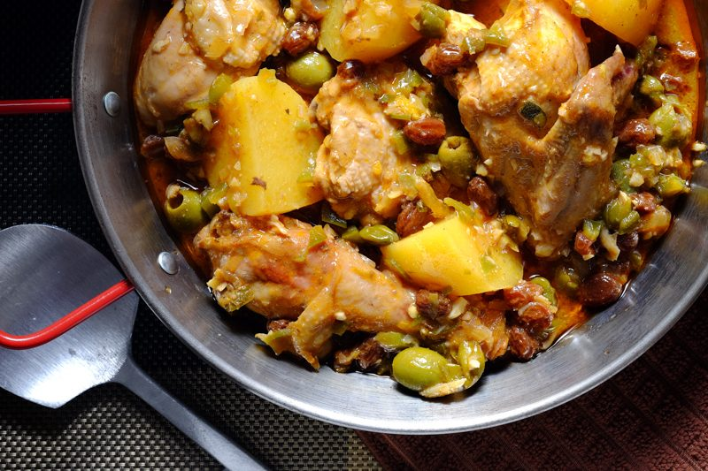 Slow Cooker Fricasse de Pollo (with green olives, capers, and raisins)