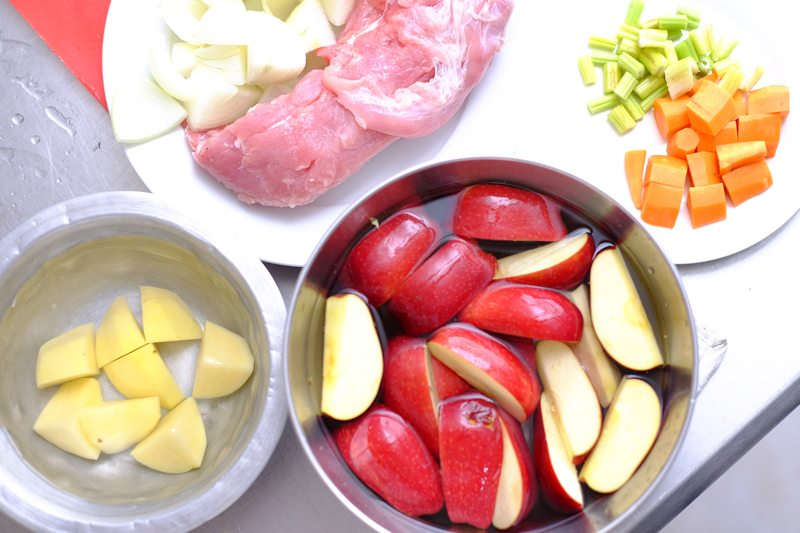 Apples will oxidize very quickly too once you cut or peel them. Soaking them in some acidulated water