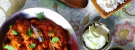 Slow Cooker Rogan Josh (with cucumber raita, and a date chutney)
