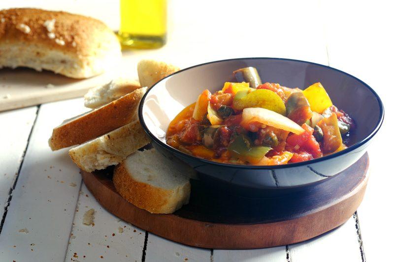 Slow Cooker Eggplant & Bell Pepper Caponata