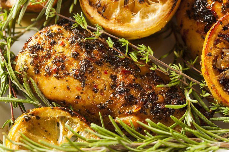 sous vide chicken with crusted herbs and rosemary thyme fresh