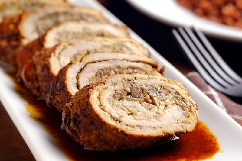 Slow Cooker Mushroom-Stuffed Pork Roulade
