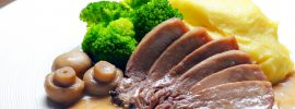 Slow Cooker Ox Tongue in Mushroom Cream Sauce