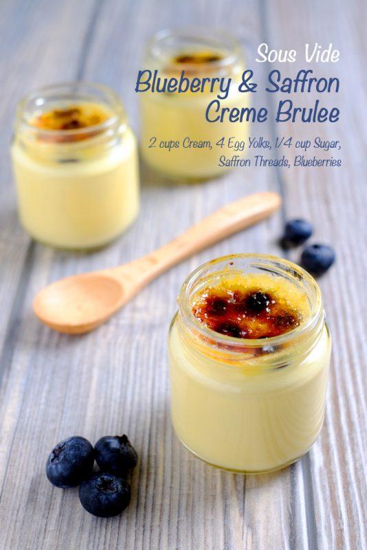 Sous Vide Blueberry and Saffron Crème Brûlée