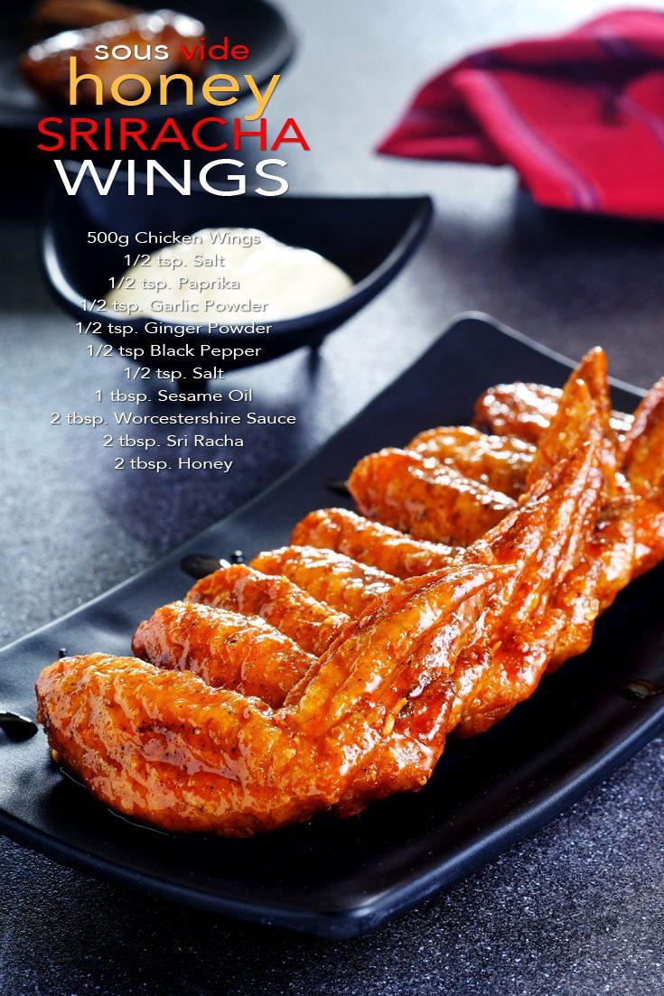 Sous Vide Honey Sriracha Wings Full Recipe on FoodForNet.com
