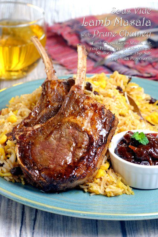 Sous Vide Lamb Masala with Prune Chutney