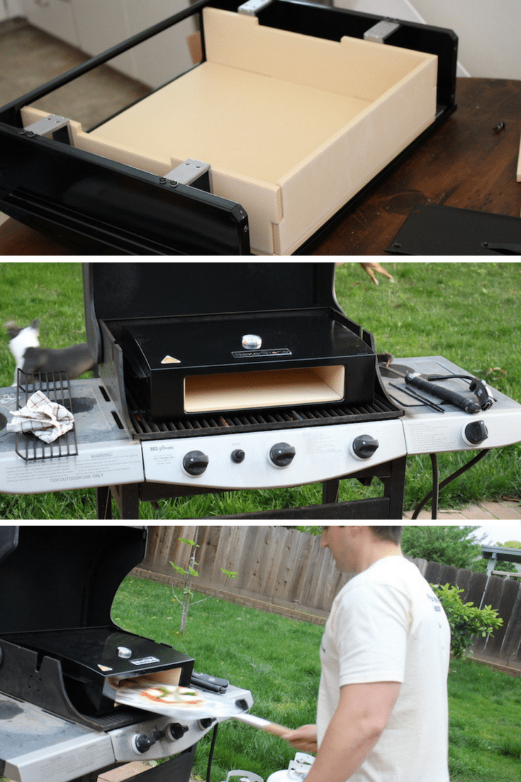 3 images of assembling bakerstone pizza box, putting it on a gas grill, and making a pizza in my backyard