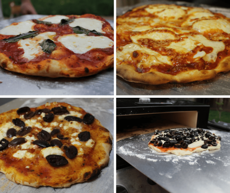 four artisan pizza creations made with the bakerstone pizza oven box