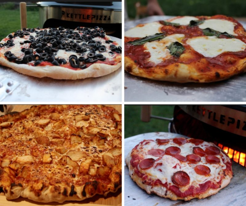 4 different pizzas cooked on kettlepizza charcoal