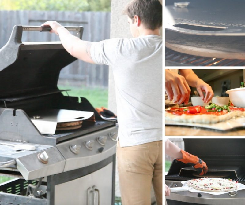 action shots of making pepper and pineapple pizza on 3-burner gas grill with kettlepizza gas pro
