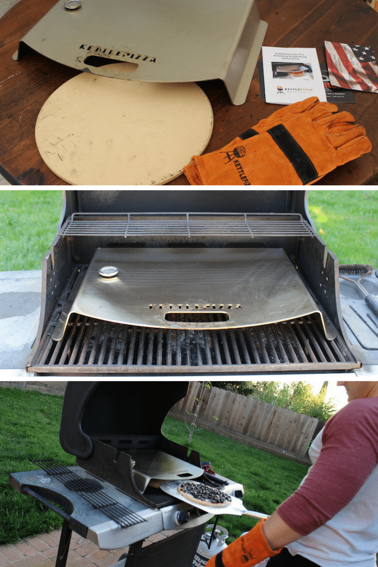 3 images of unboxing the KettlePizza Gas pro, putting it on my gas grill, and making olive pizza in my backyard