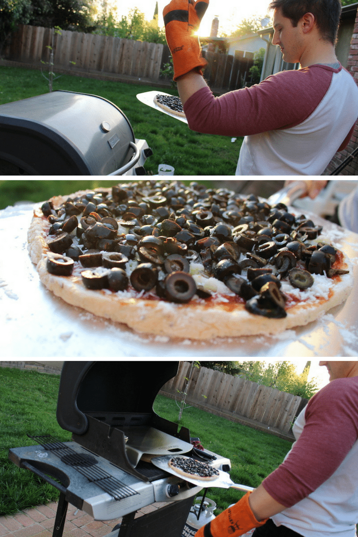 three images of placing an olive and cheese pizza in the kettlepizza gas pro steps 1, 2, and 3