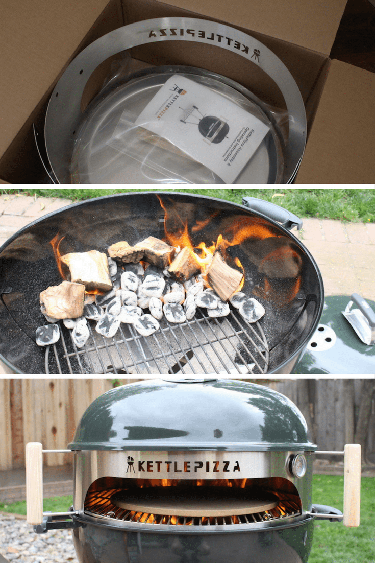 3 steps to setting up kettlepizza oven grill insert, unboxing, getting wood and coal fire started, and putting lid on your grill