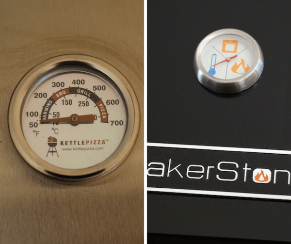 kettlepizza vs bakerstone temperature gauges side bys ide