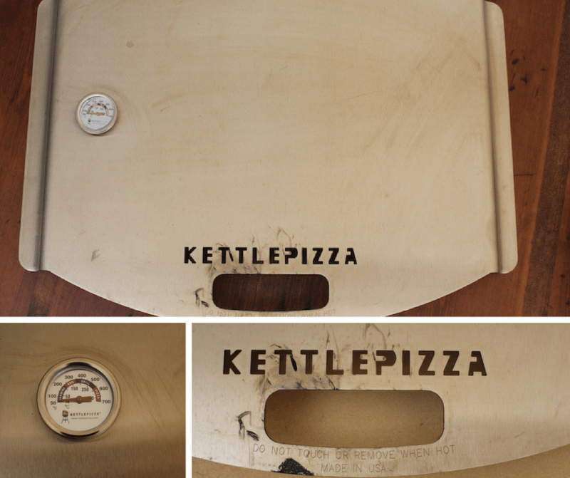full picture of kettlepizza with zoomed image of handle, brand writing, and temperature gauge with pizza setting