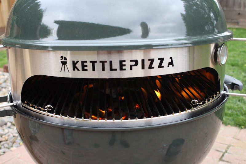 kettlepizza charcoal being tested in my backyard