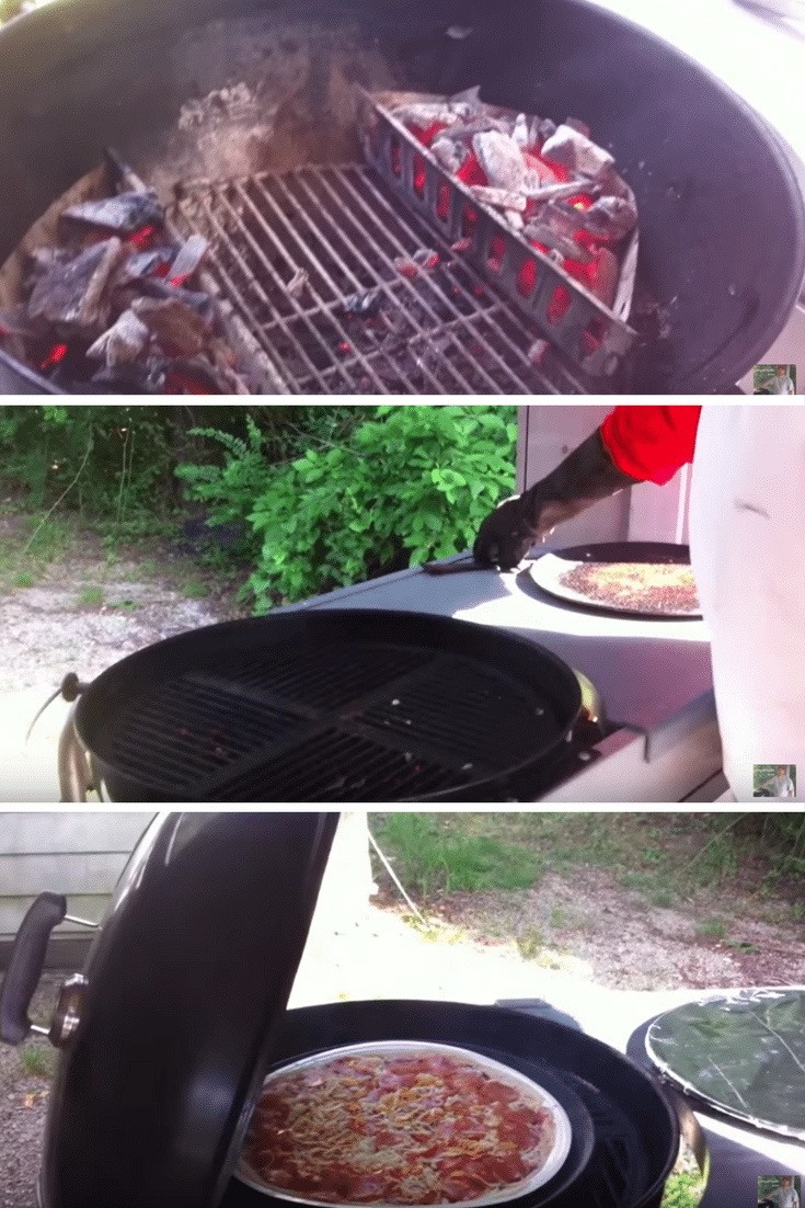 using a metal pizza pan to cook a large pizza on a charcoal grill