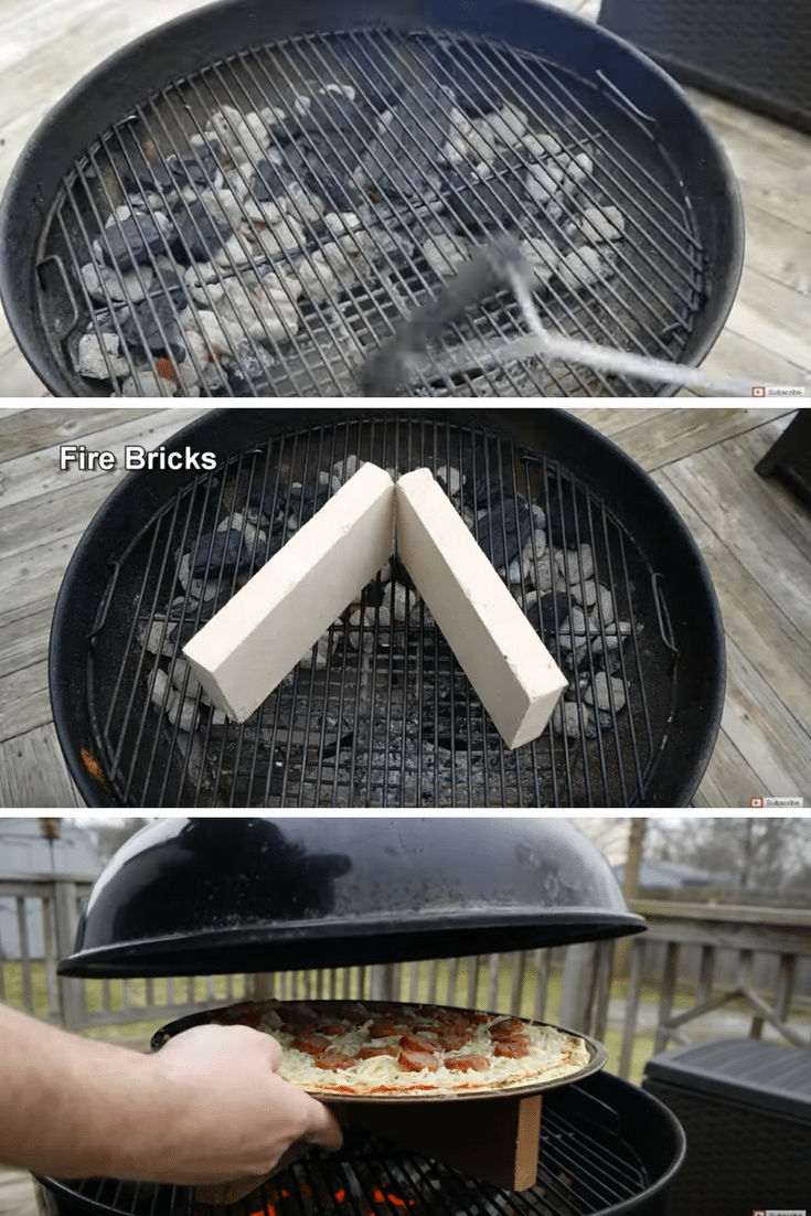 creating a brick fired pizza oven on a charcoal grill