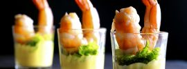 Sous Vide Cocktail Prawns with Orange-Caper Sabayon