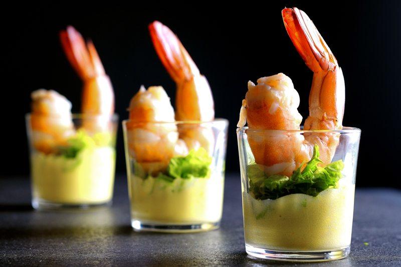 Sous Vide Cocktail Prawns with Orange-Caper Sabayon Recipe