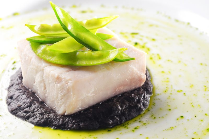 Sous Vide Mahi-Mahi with Squid Ink Bean Puree