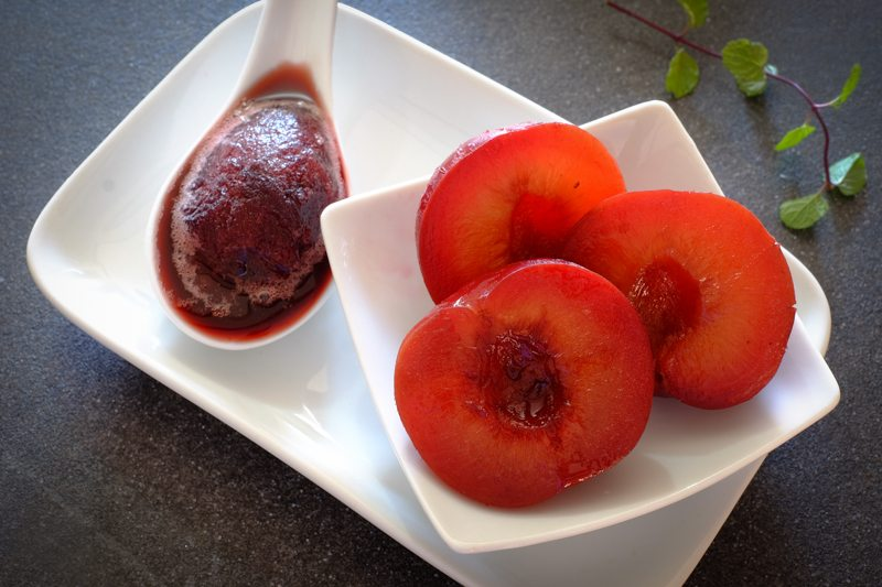 Sous Vide Plums with Red Wine Granita Recipe
