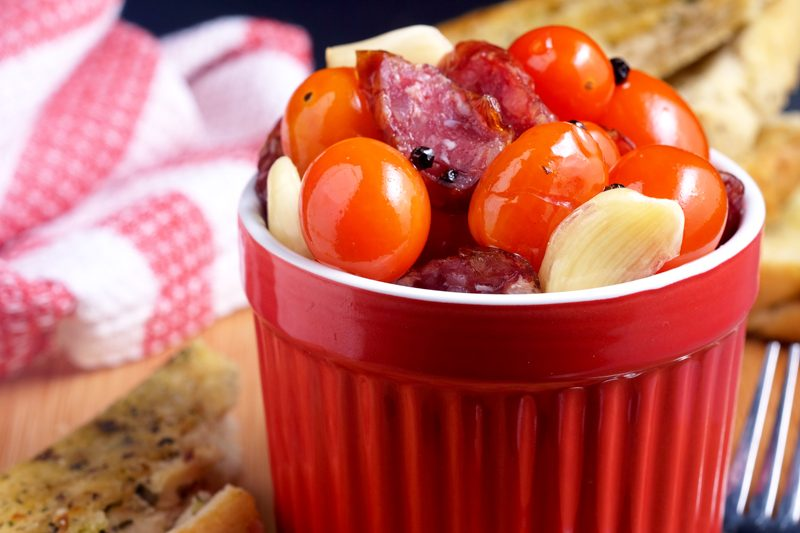Sous Vide Chorizo and Cherry Tomato Confit