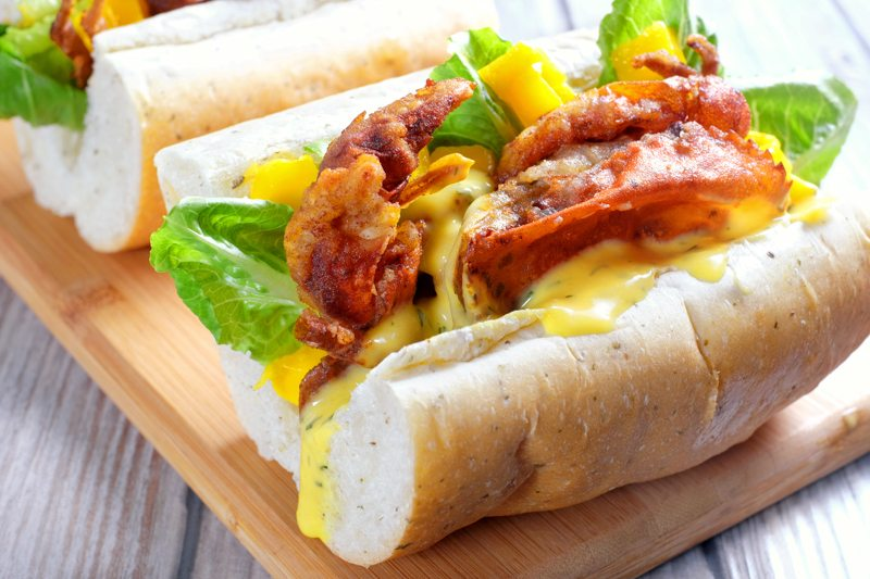 Sous Vide Soft Shell Crab Po'Boys with Mango-Dill Mayo Recipe
