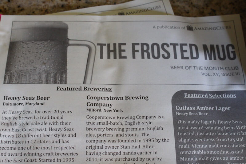 amazing clubs frosted mug newsletter explaining types of beer and featured breweries