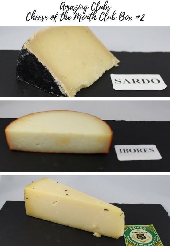 Amazing Clubs Cheese of the Month Club Box #2 August 2017 sardo, ibores, rosemary flavored