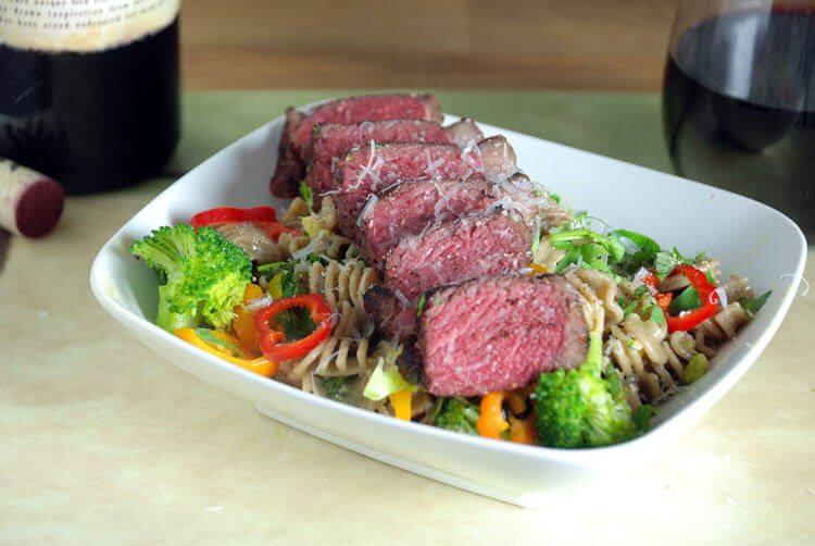 Sous Vide Bison Strip Steak Carbonara