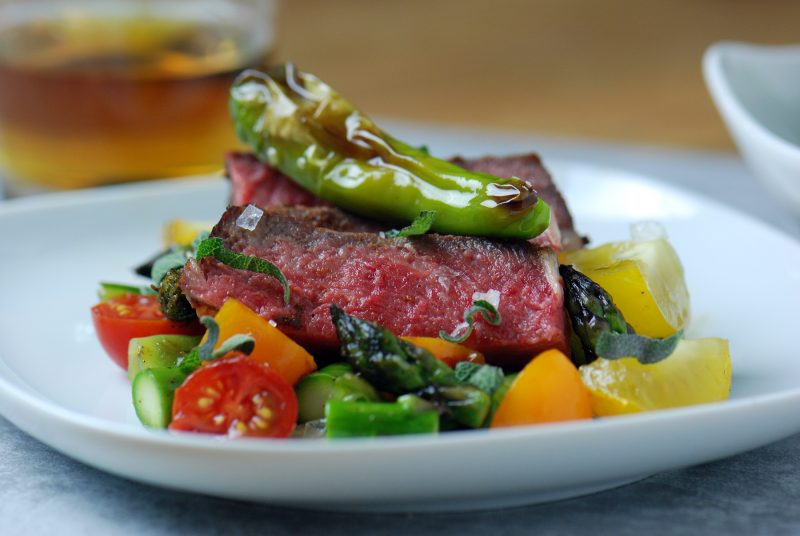 Sous Vide Chuck Steak with Asparagus and Shishito Peppers