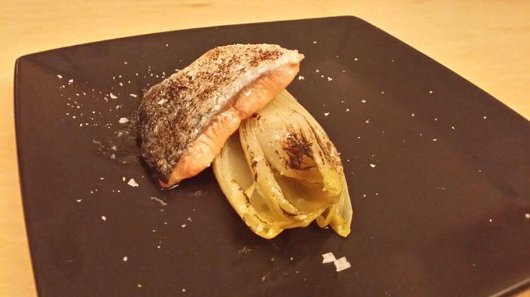 Sous Vide Curry Salmon with Confit Chicory
