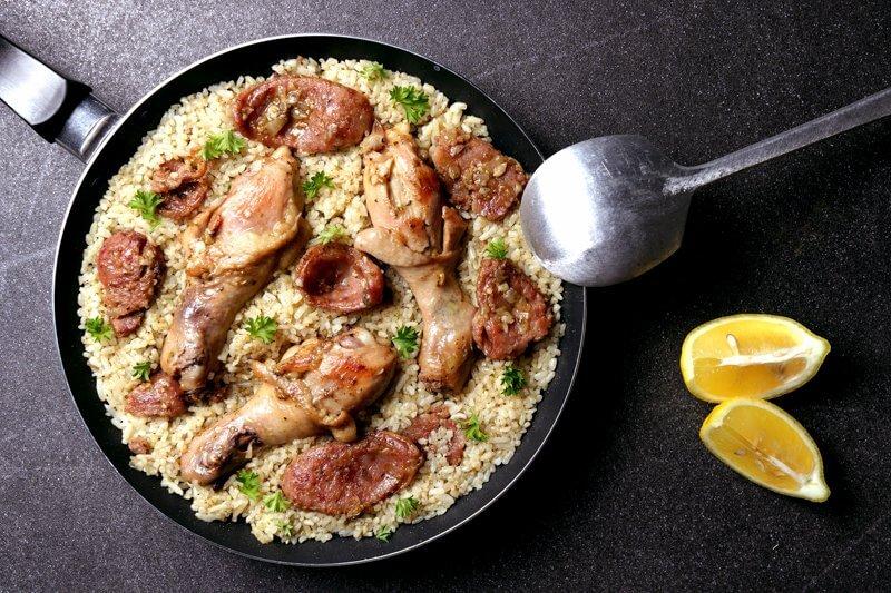 Chicken, Chorizo, and Pesto Paella