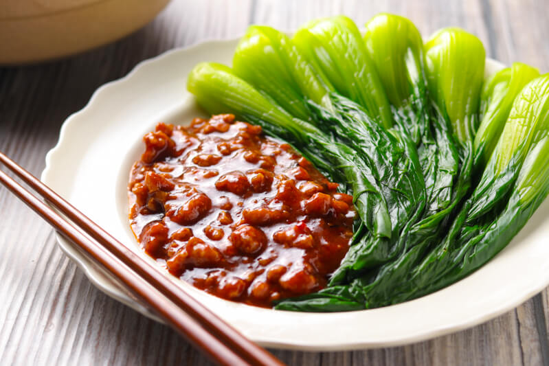 Steamed Bok Choy with Ma Po Style Pork