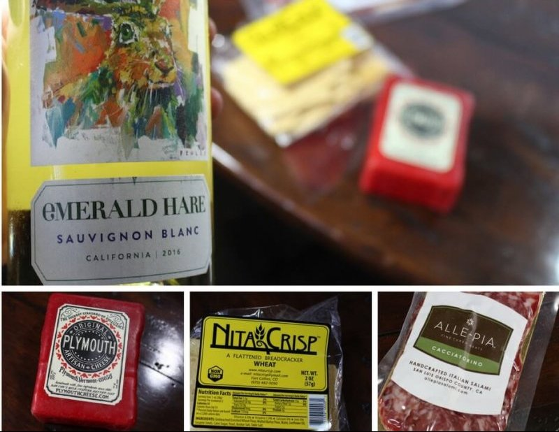 wine down box cheese wine club number two showing salami, cabernet sauvignon blanc and wheat crackers