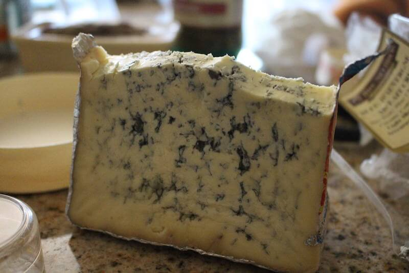 bleu, creamy cheese with foil wrapper