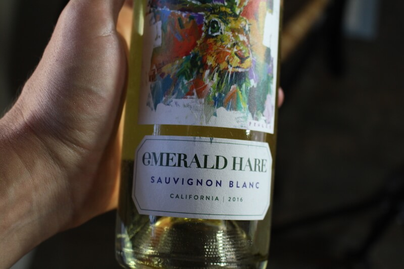 emerald hare sauvignon blanc closeup of wine bottle