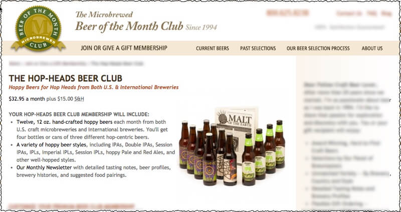 hop heads beer of the month club screenshot of membership signup page with club information