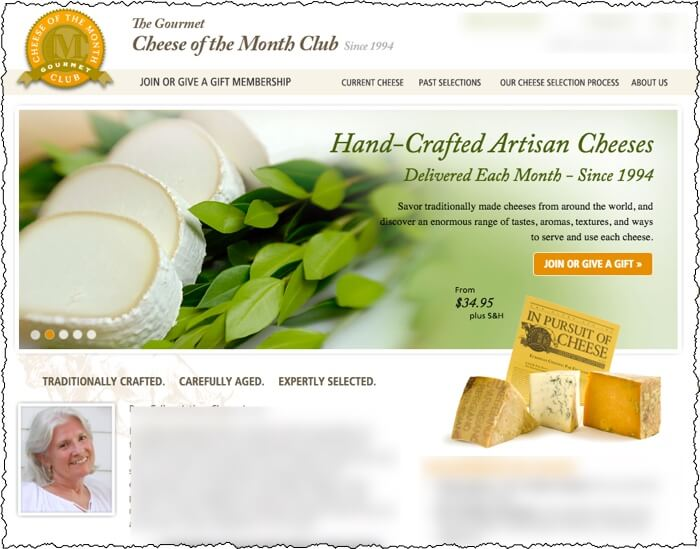 monthly clubs cheese of the month club website screenshot including picture of goat cheese and other cheese variety on home page
