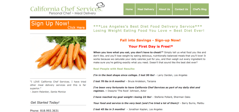 california chef services meals website screenshot showing testimonials from clients and an image of carrots.