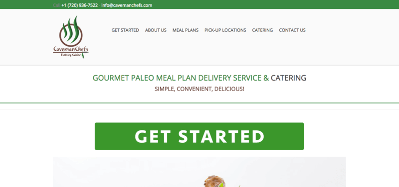 Caveman Chefs Paleo Meals Website Screenshot showing the menu structure, Caveman Chefs logo and green 'Get Started' button.