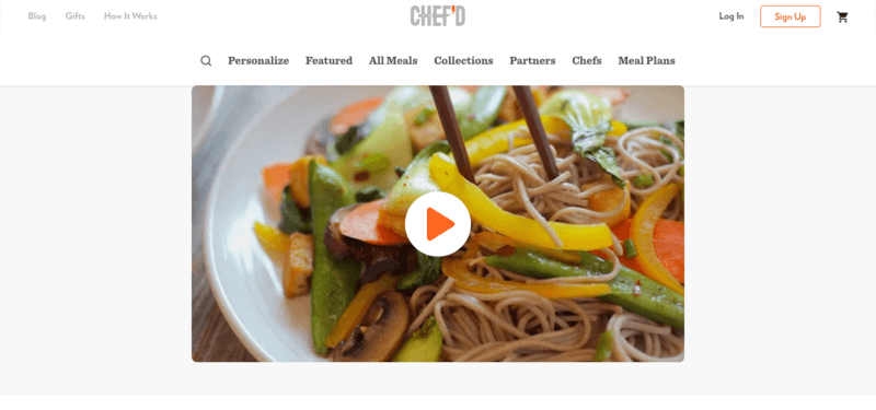 Chef'd meals website screenshot showing a bowl of noodles with carrots, bell peppers and green beans
