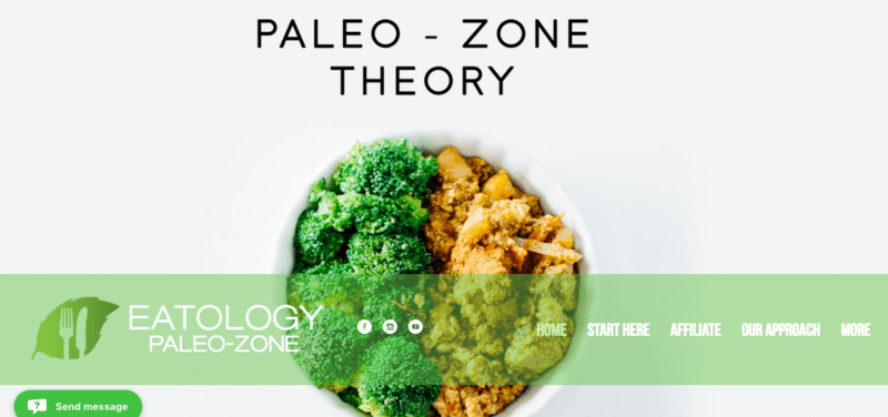 Eatology Paleo Meal Delivery Service Screenshot Showing a Bowl of Broccoli and Chicken on a White Background