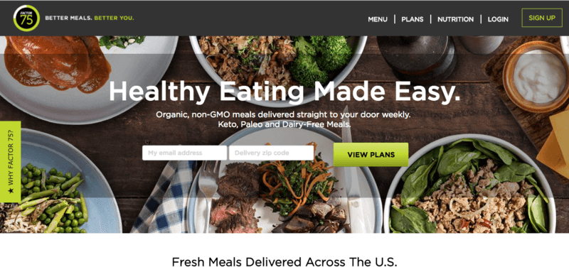 Factor 75 Paleo Meal Delivery Website Screenshot Showing Five Meals Including Various Types of Protein Such As Chicken and Beef