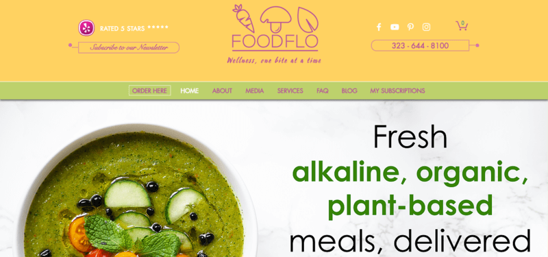 foodflo meals website screenshot showing a green soup with various vegetables