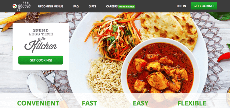 Gobble Website Screenshot showing a curry with bread, rice and a salad